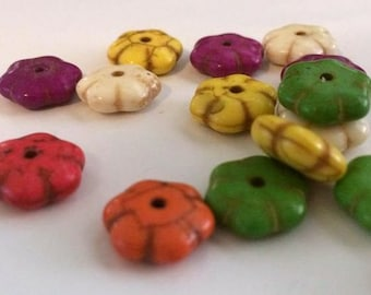 DYED Howlite flower beads, various color bead, 12x4mm, springtime bead, floral bead, summer bead, vibrant bead, jewelry supply, craft supply