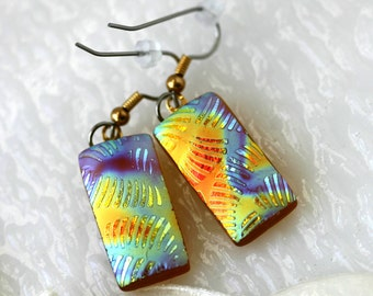 Satin Rainbow Swirls Earrings Dichroic Fused Glass Jewelry ER0019