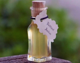 """RADIANT AMBER™ """"Artisan Alchemist""""™ """"Old European Witchcraft""""™ Master Crafted Resin Oil in Rare Squared Bottom Mini Glass Vial with Cork"""
