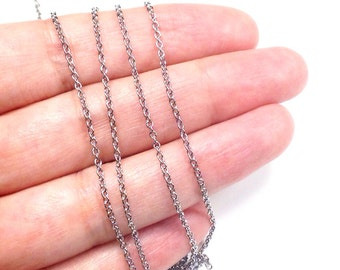 Fine Stainless Steel Chain, Soldered Closed Links, 4 to 20 feet, 2x1.5x0.4mm, 316 Stainless, #1912