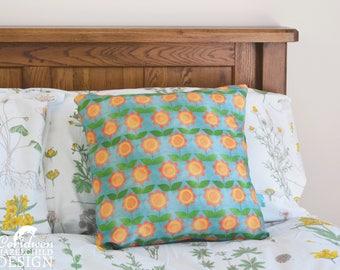 Floral Decorative Throw Cushion, Summer Flowers Cushion Cover, Throw Cushion, Pillow, Decorative Cushion, Floral Cushion Cover
