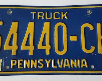 Pennsylvania Truck License Plate - Blue Background with Yellow Lettering