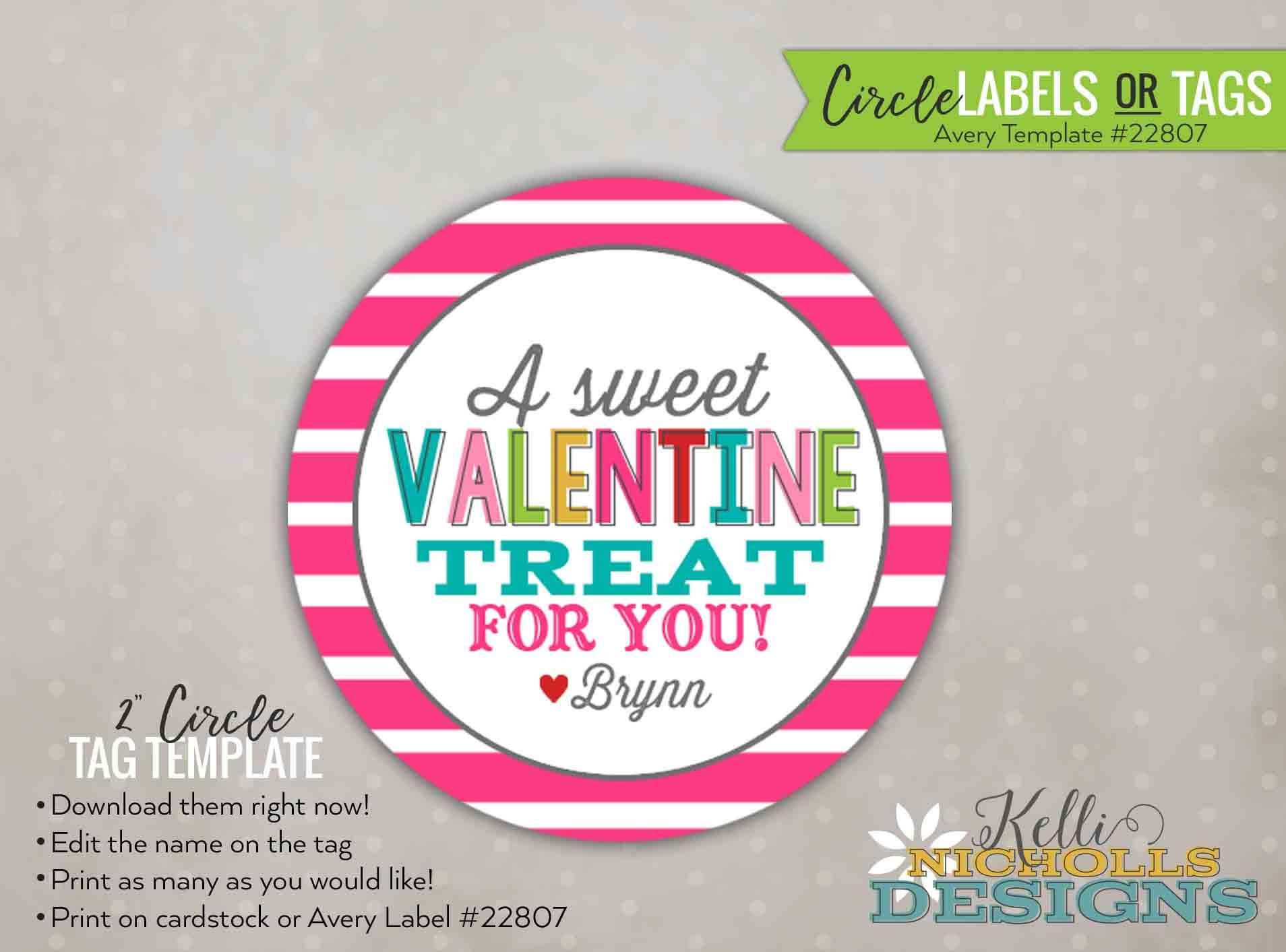 Custom Stripes Valentines Day Stickertag Personalized