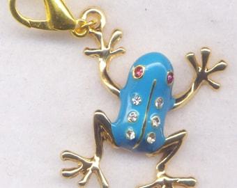 Big Blue Frog Stitch Marker Clip Frogging EnameledRhinestone Single /SM197B