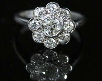 Antique Diamond Cluster Ring - 1.85ct Of Diamonds 18ct Gold