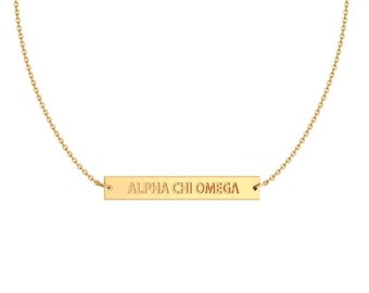 ALPHA CHI OMEGA Infinity Bar Necklace (Gold)
