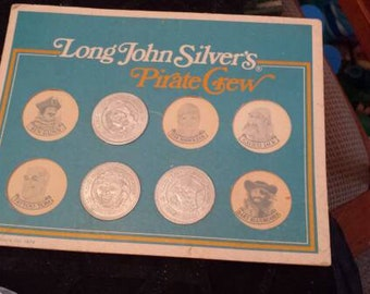 Long John's Silver plate Coins Pirate Crew 1976