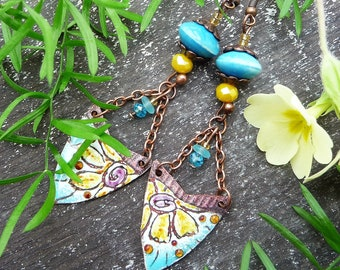 Shiela, blue and yellow ethnic earrings with enamelled copper artisan-made floral patterned charms and ceramic beads, clips available