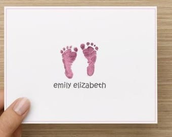 Baby thank you card: Personalized and personally designed baby girl baby shower thank you card!  Baby feet. Packages of 10, 20, or 30