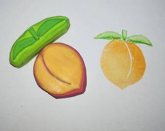 Peach rubber stamp, peach stamp, fruit stamp, summer stamp, cardmaking stamp, scrapbooking stamp, food stamp, peach background, pattern, diy