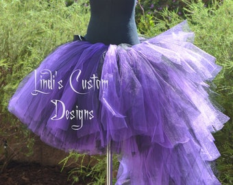 Purple and Black Bustle Tail Masquerade Tulle Tutu for Parties, Pageant, Costume, Halloween, Children to Adult Custom Sizing for Each Client