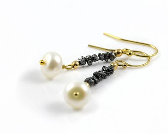 Rough Diamond Pearl Earrings - 14K Gold Filled - Black Raw Diamonds - White Freshwater Pearls - Bridesmaid Gift - April Birthstone