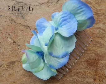 Hair Comb - Blue Hair Flowers - Silk Flower Hair Accessory - Floral Hair Grip - Wedding Accessory - Decorative Hair Comb - Wedding Flowers