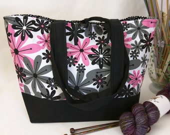 Tie-Top Totes -  Pink Mod Floral with Padded Organizer Pocket