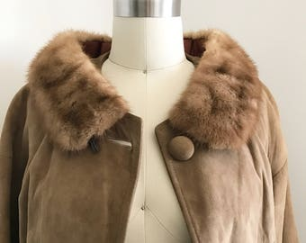 Vintage 60s Suede Coat with Mink Fur Collar Size S/M