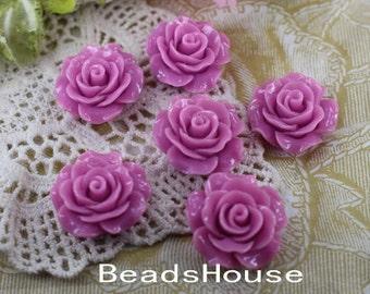 696-00-CA  6pcs (20mm) Beautiful Roses Cabochon-Fuchsia Pink