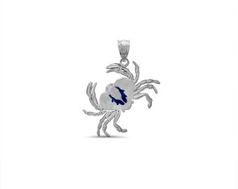 sterling silver crab pendant with blue color enameling. sealife pendant