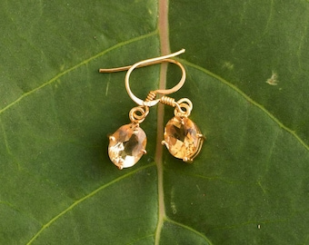 Citrine Earrings, November Birthstone Earrings, Gold Filled Citrine Earrings, 925 Sterling Silver, Bridesmaids, Prong setting Earrings
