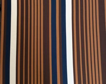 Blue and Brown Stripe - lightweight knit fabric
