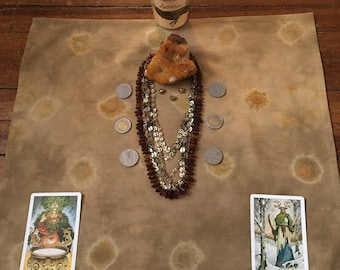 ABUNDANCE CLOTH ((shallot skins+pennies)): hand dyed altar/tarot cloth