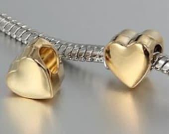 1 Gold Heart European Charm 10mm European Beads Fits Charm Bracelets - 10W