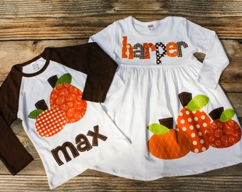 Fall Sibling Outfit - Brother Sister Matching Outfits for Fall, Pumpkin Shirt and Dress Set