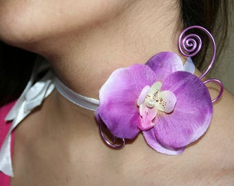 Choker with Purple Orchid