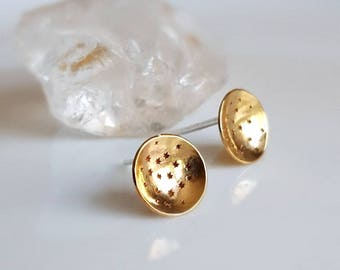 Gold Brass Moon & Stars Earrings, Stud Earrings, Sterling Silver Posts, Studs, Women's Earrings, Round Disc Earrings, Domed, Circle, Concave