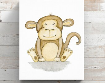 Monkey Canvas Print from original watercolor painting - Nursery Wall Art - Wrapped Canvas Print