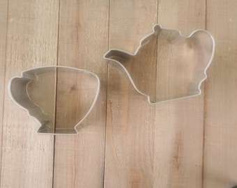 Tea Pot Cookie Cutter , Tea Cup Cookie Cutter , Set of 2 cookie cutters