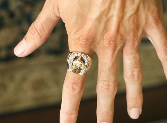 14k yellow gold horse shoe Ring Mens Yellow Gold Horse Ring