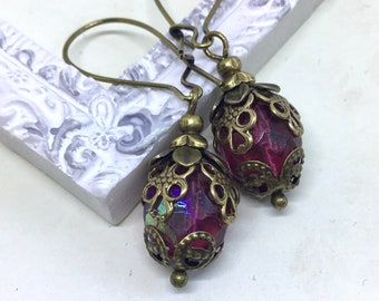 Pink victorian styled AB faceted earrings pink filigree earrings