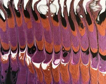 "Purple metallic acrylic painting 5x7"""
