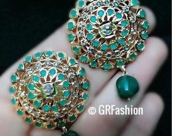Beautiful hyderabadi 6 carat gold plated green stone earrings