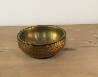 Early 1990s handmade Handpainted brass bowL