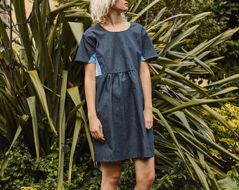 organic cotton denim smock dress