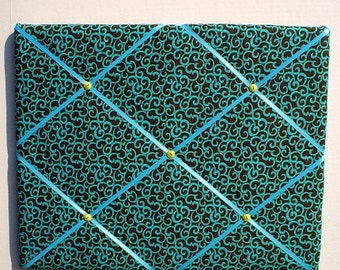 Turquoise Brown Memory Board, Turquoise Swirls French Memo Board,Brown Blue Fabric Ribbon Memo Bulletin Board, Swirls Fabric Pin Board