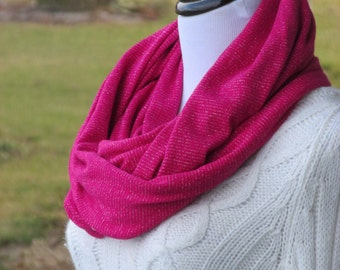 Soft Sweater Knit Pink with Silver Sparkle Infinity Scarf - Ready To Ship - Soft Acrylic Sweater Knit - Ladies Gift Idea - Hannahs Homestead