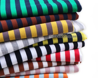 Colors Stripes Lycra Knitting Cotton Fabric, Baby Kids Clothing Quilting Jersey Knit Fabric- 1/2 Yard