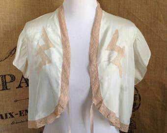 1940's bed jacket, silk lace bed jacket, lingerie