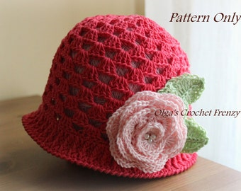 Girl's Summer Hat Crochet Pattern, Size 3-5 Years Old, Instant Download