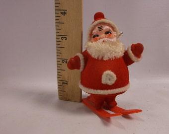 Santa Claus On Skies Vintage christmas Flocked Plastic.epsteam