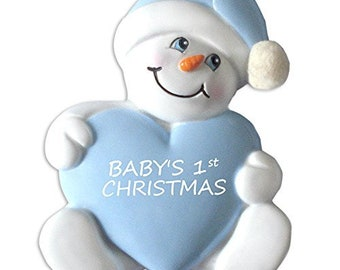 Personalized Baby's 1st Snow Baby Blue Ornament