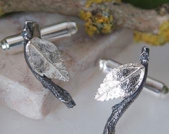 silver leaf cufflinks-twig cufflinks-gift for men-forest wedding jewellery-woodland wedding jewellery-cufflinks for women-unusual cufflinks