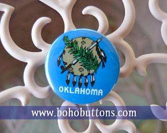 Oklahoma State Flag Pinback Button, Magnet, Badge, Oklahoma Flag Button, Oklahoma gift, Tulsa Pin, Souvenir Gift, Oklahoma Flag Keychain
