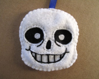 Sans the Skeleton from Undertale. A hand sewn felt charm in 2D