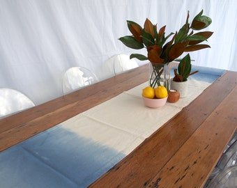 Large table runner with dual double ombre dye made in Australia from organic cotton