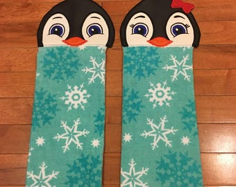 Hand towel, kitchen towel, ships today, embroidered kitchen towel, owl towel, hand towel, hanging towel, Christmas  towel, penguin towel