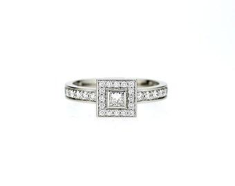 950 Platinum, 0.66ct Princess cut diamond halo engagement ring, bezel, engagement ring, square diamond, platinum engagement , platinum halo