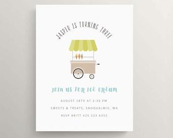 ice cream cart birthday invitation | baby shower | ice cream party | ice cream cone | thank you note | sundae | frozen yogurt | summer